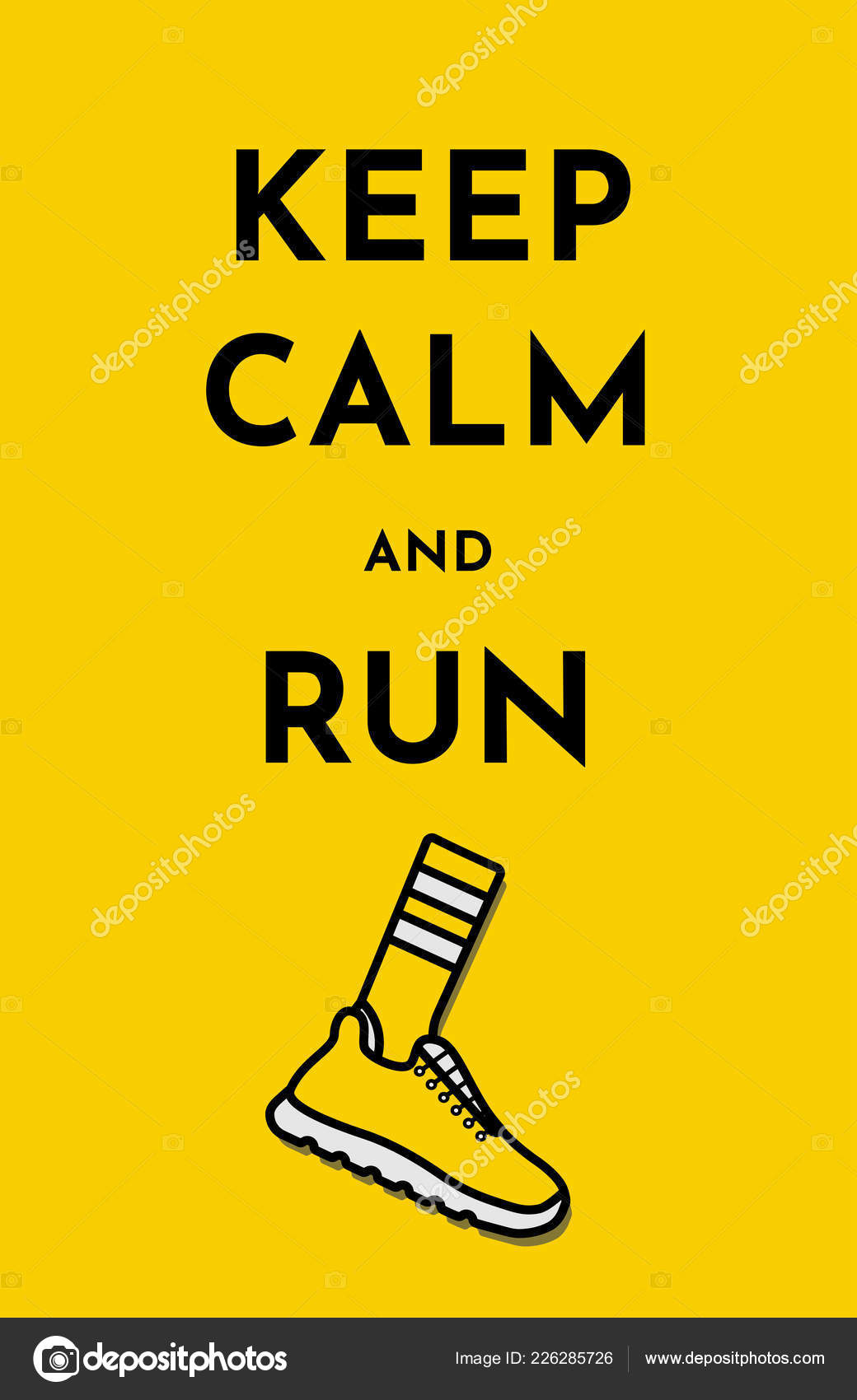 Gelbe Karte Lustig.Vector Illustration Funny Card With Text Keep Calm And Run
