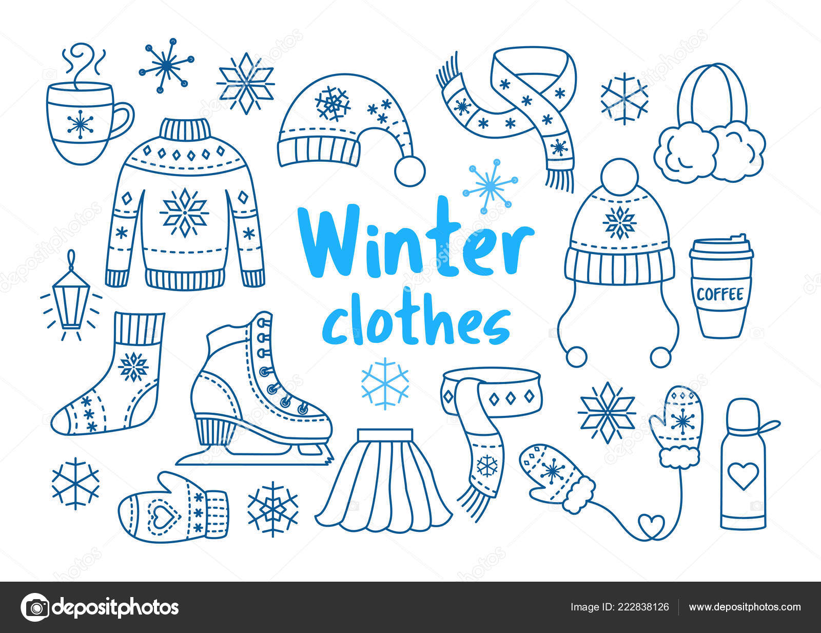 48f66bf6508f Winter clothes outline icon set — Stock Vector © DandelionFly  222838126