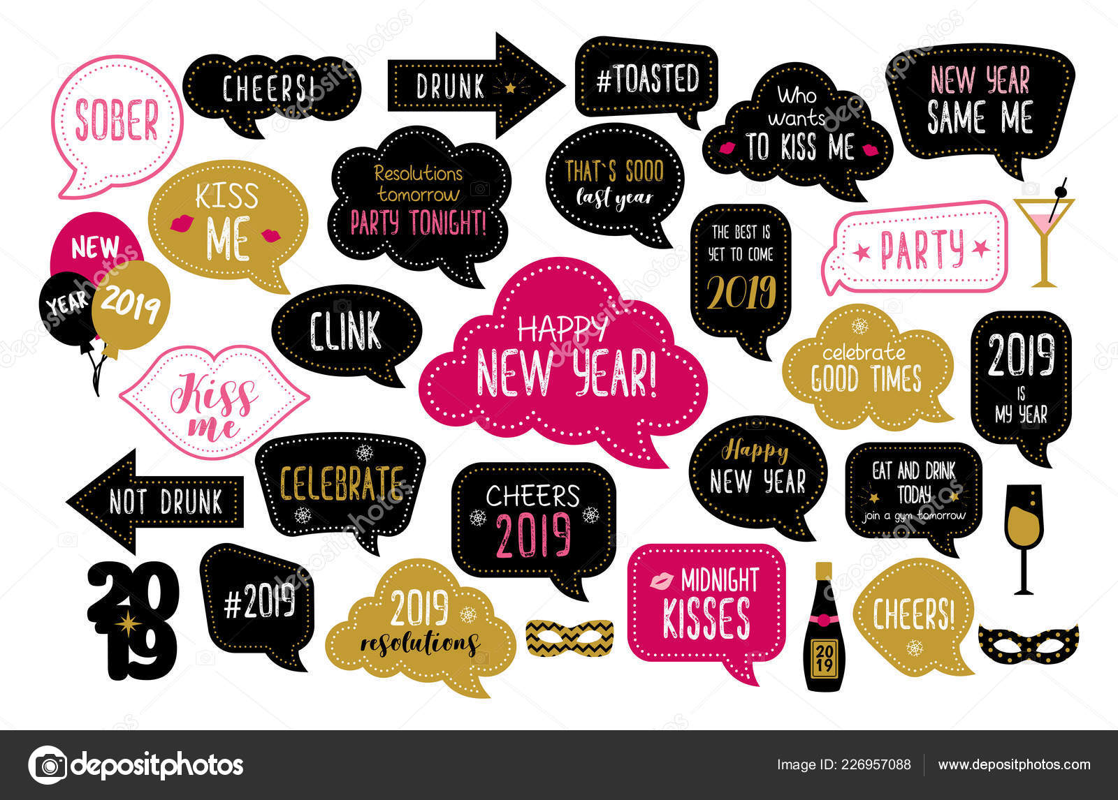 Happy New Year 2019 Photo Booth Props Stock Vector Dandelionfly