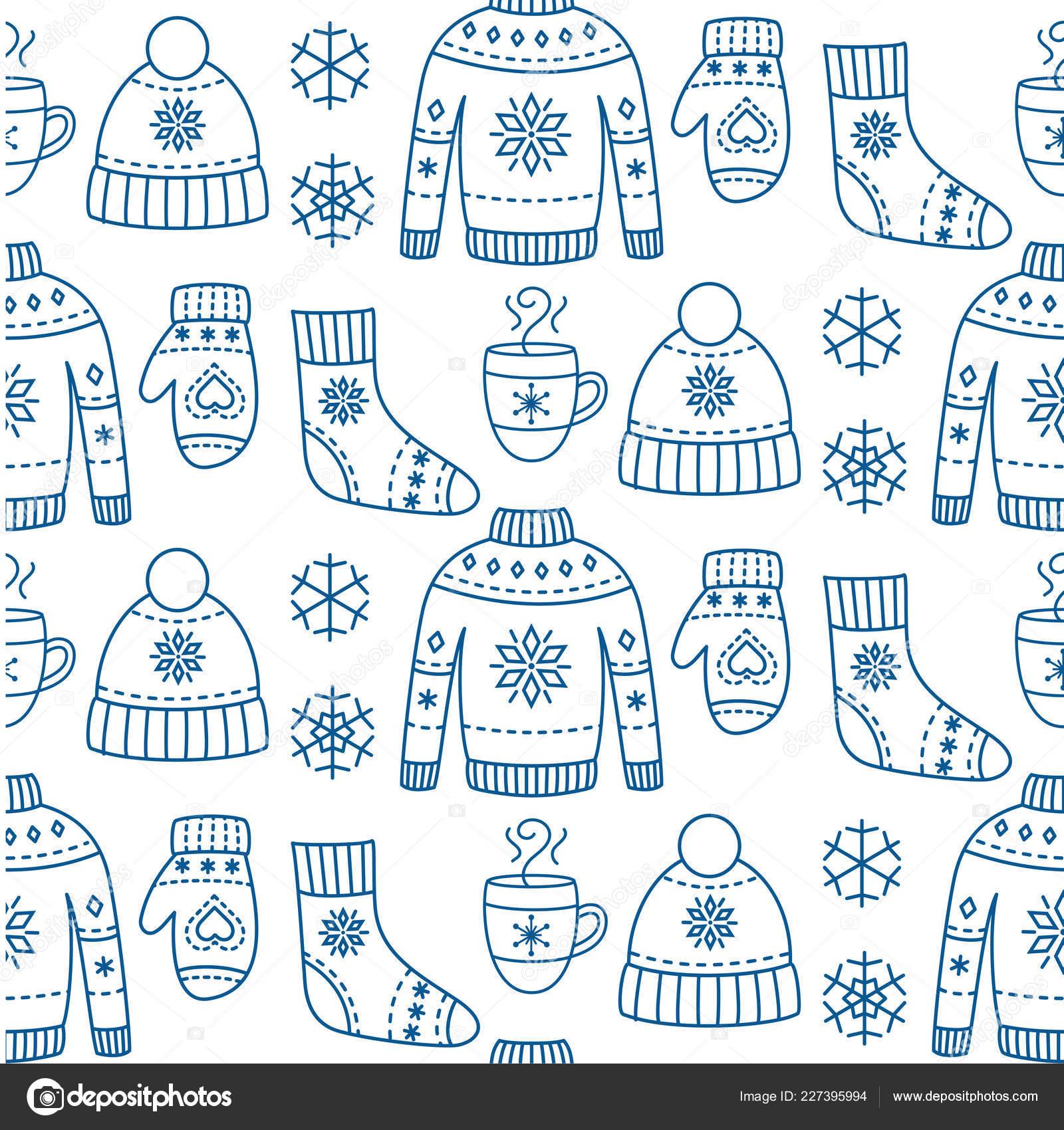 Temporada de invierno ropa de patrones sin fisuras — Vector de stock ...