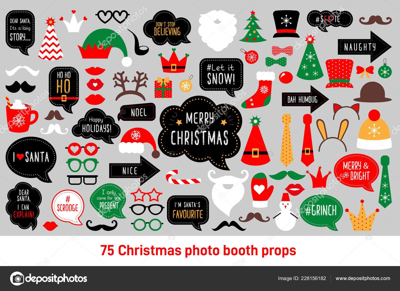 Photo Booth Weihnachten.Weihnachten Foto Stand Requisiten Vektor Set Photobooth