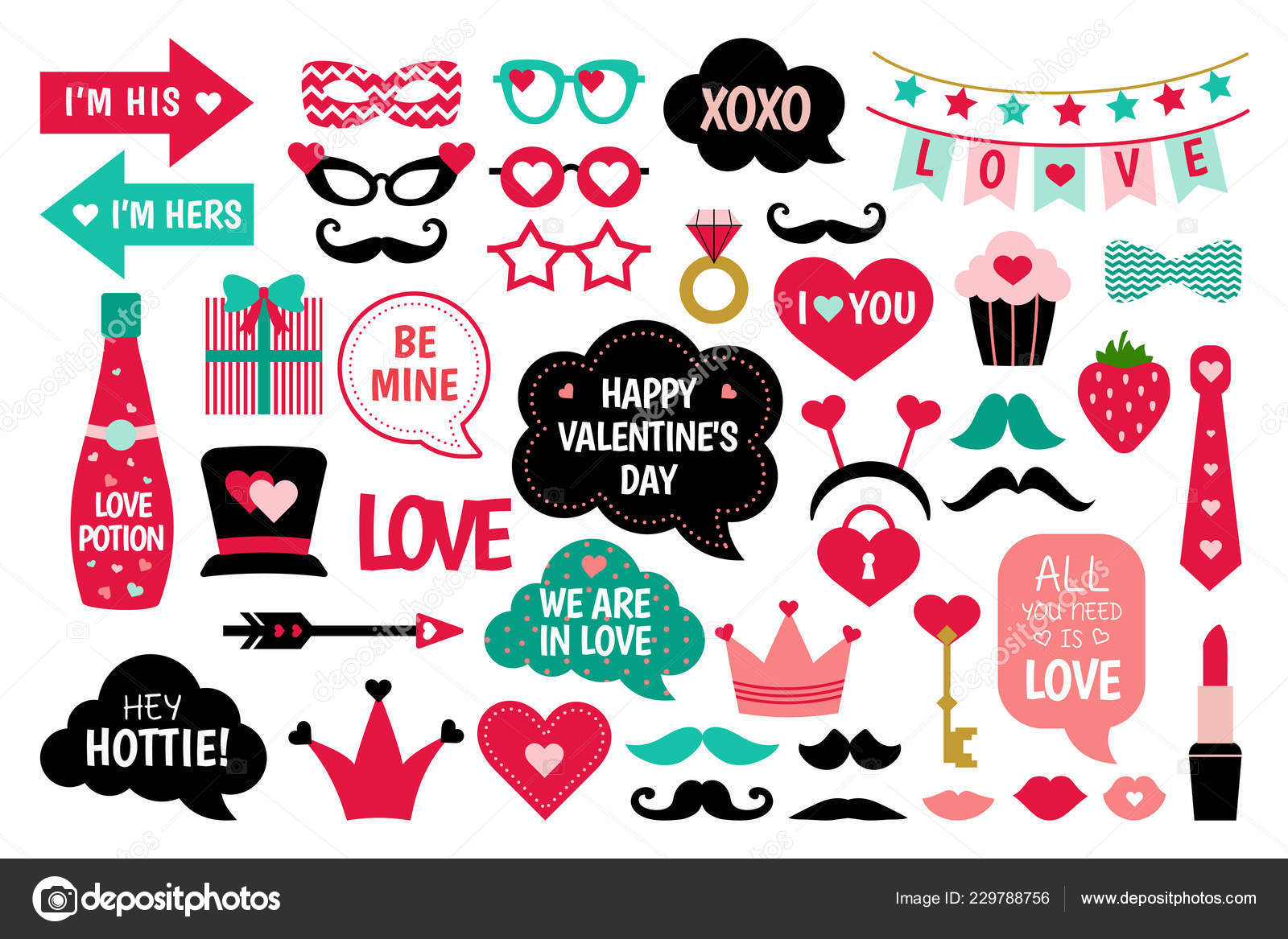 Valentine Day Photo Booth Props Vector Set Love You Heart Stock