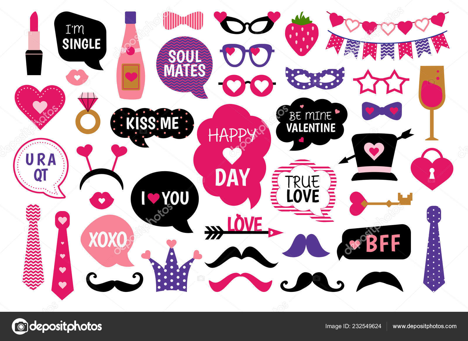 Valentine Day Photo Booth Props Set Love Lettering Heart Hat Stock