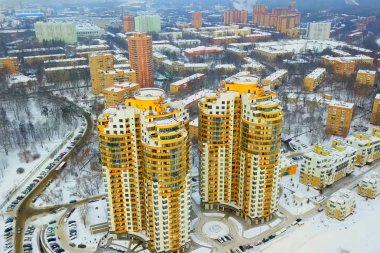 Moscow new buildings, multi storey apartment buildings view from above.