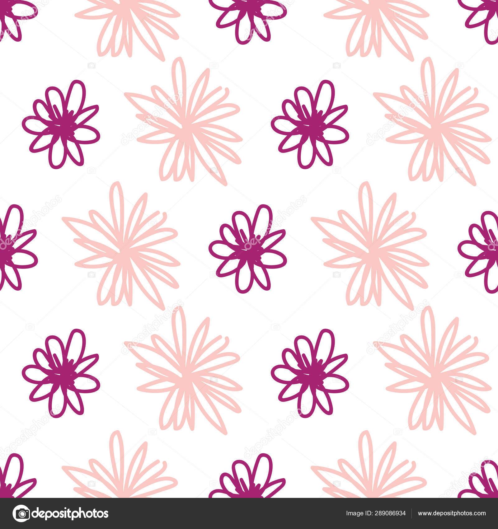 Wild Cute Girly Spring Summer Pink Flowers Seamless Pattern