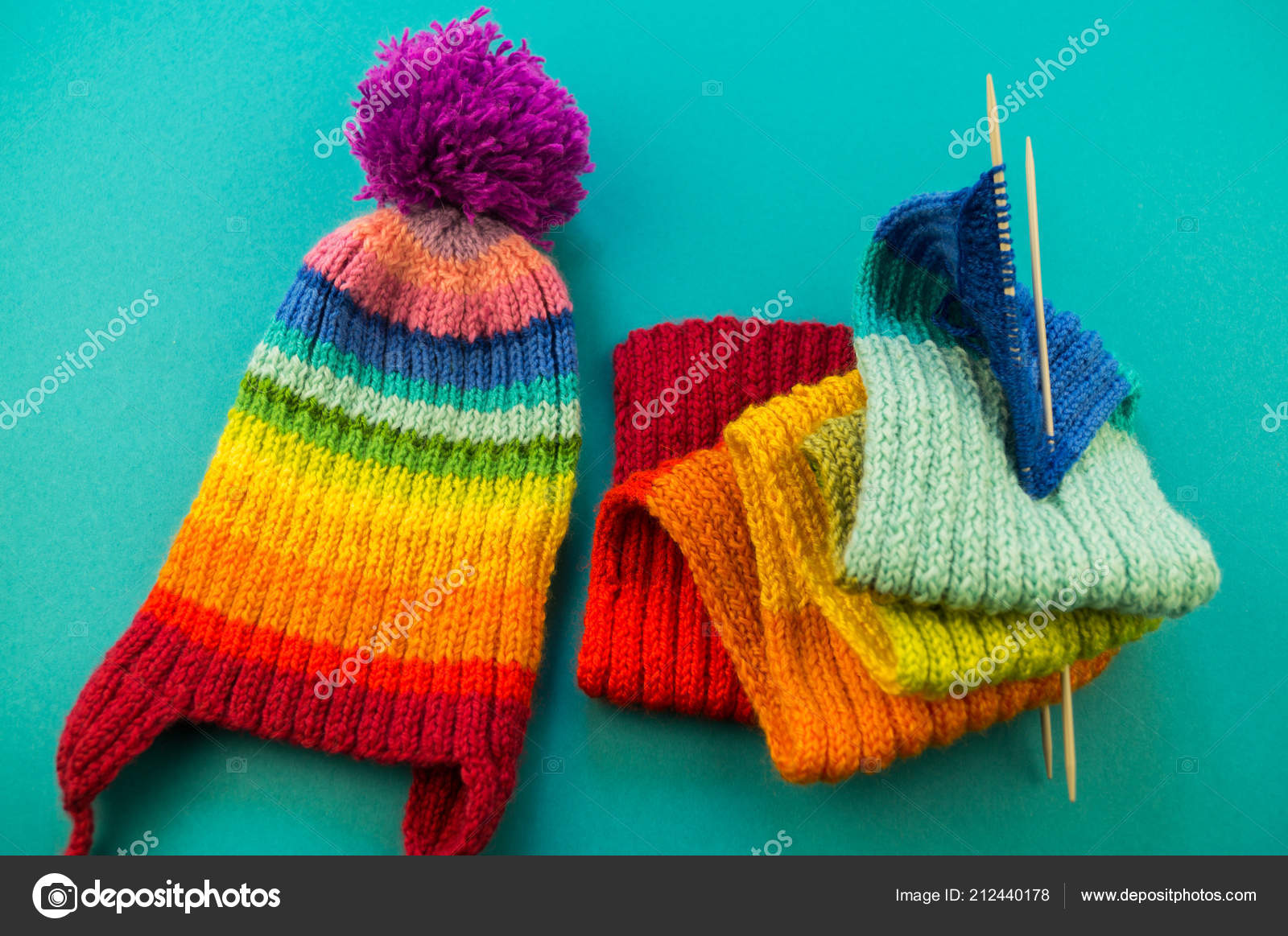 c43de7118f1d Knitting Rainbow Scarf Hat Basket Balls Wool Knitting Needles Blue — Stock  Photo