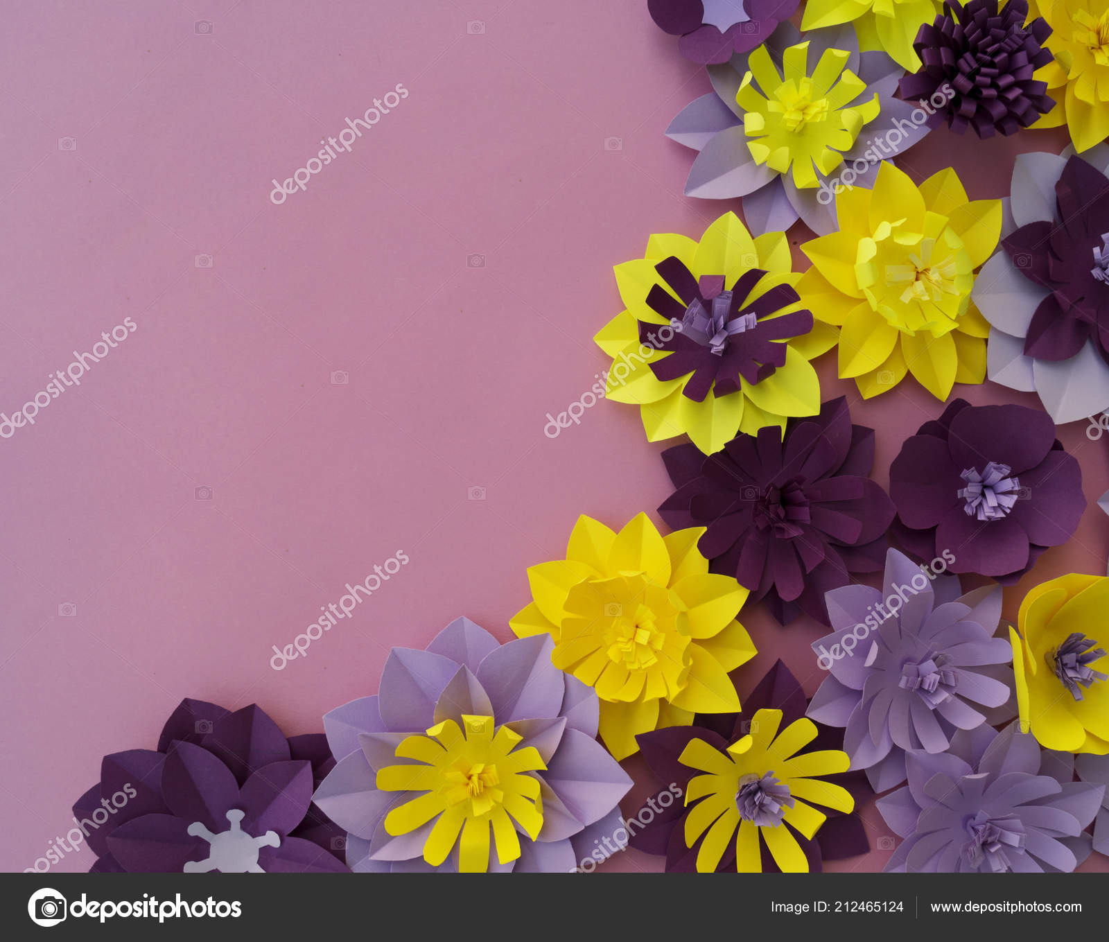 Paper Craft Flower Decoration Concept Flowers Leaves Made Paper