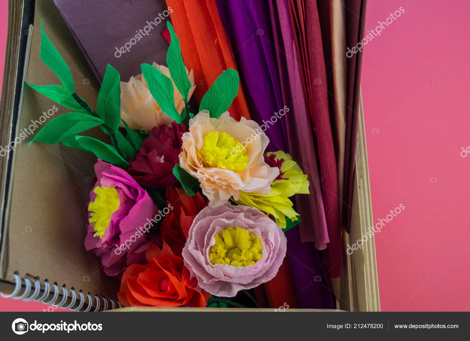 Utensils Tools Making Crepe Paper Flowers Pink Background Cosmos