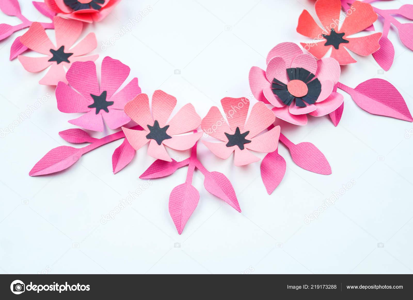Flower Leaf Pink Black Color Made Paper Handwork Favorite Hobby