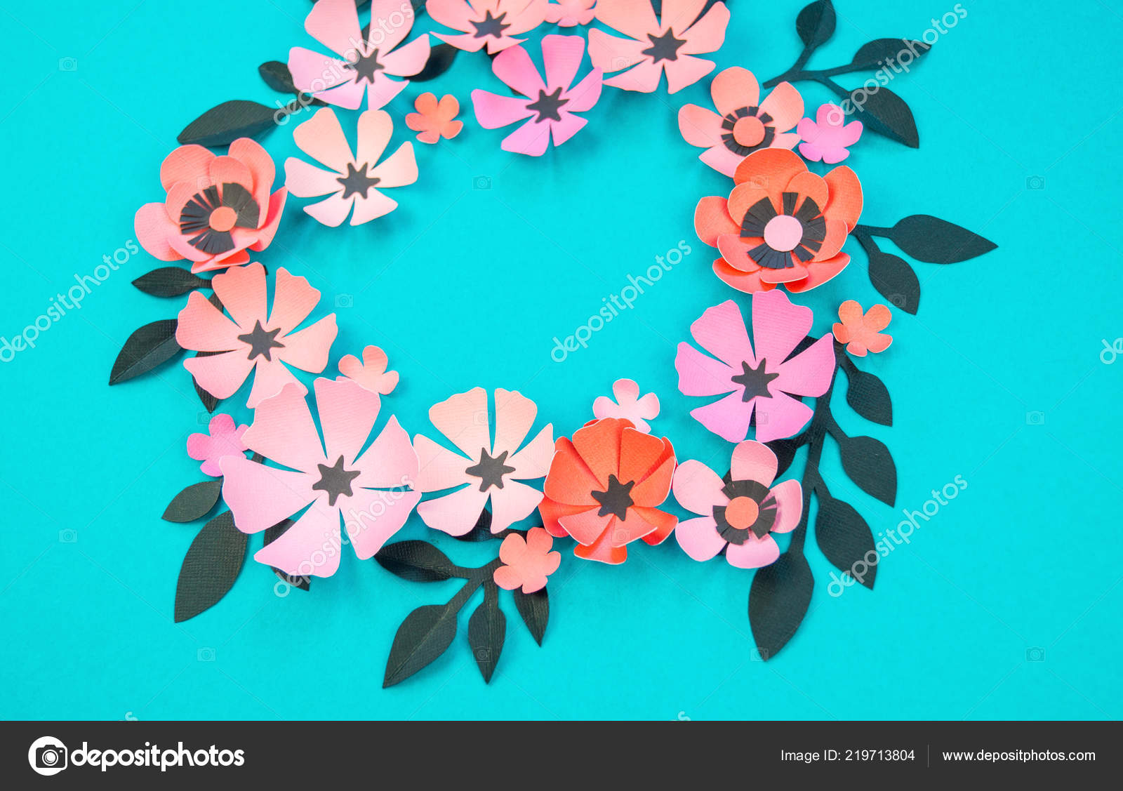 Flower Leaves Made Paper Turquoise Background Handwork Favorite