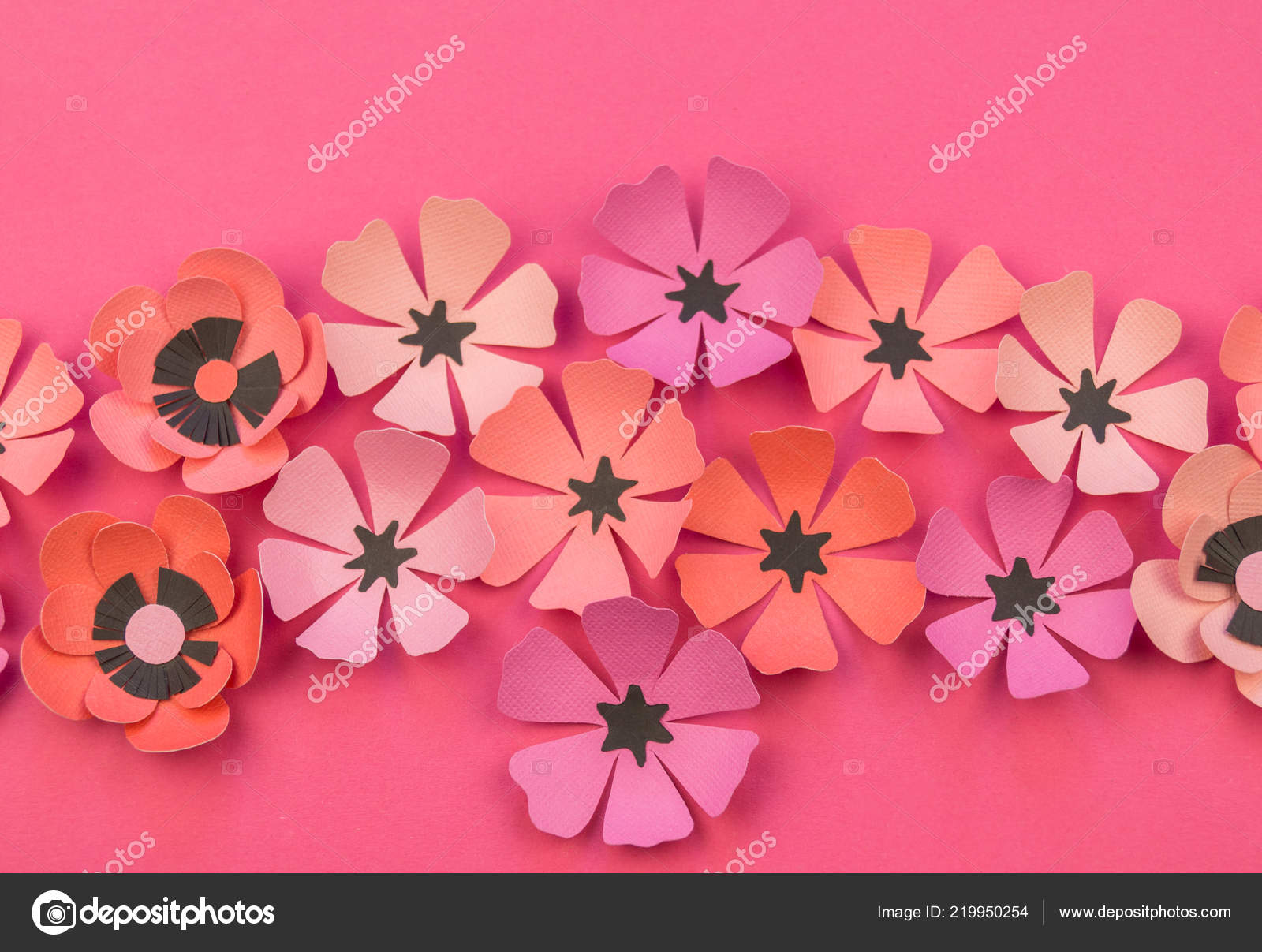 Flower Leaves Made Paper Pink Background Handwork Favorite Hobby