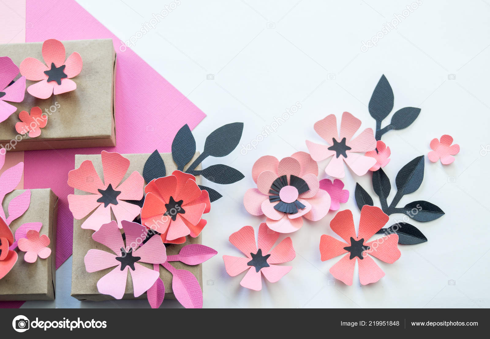 Packing Festive Box Ribbons Flowers Flower Made Paper Favorite Hobby