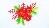 Papírové květiny vánoční hvězda a listy, Holly. Vánoční věnec. Bílé pozadí. Barvy jsou zelená, červená, žlutá.