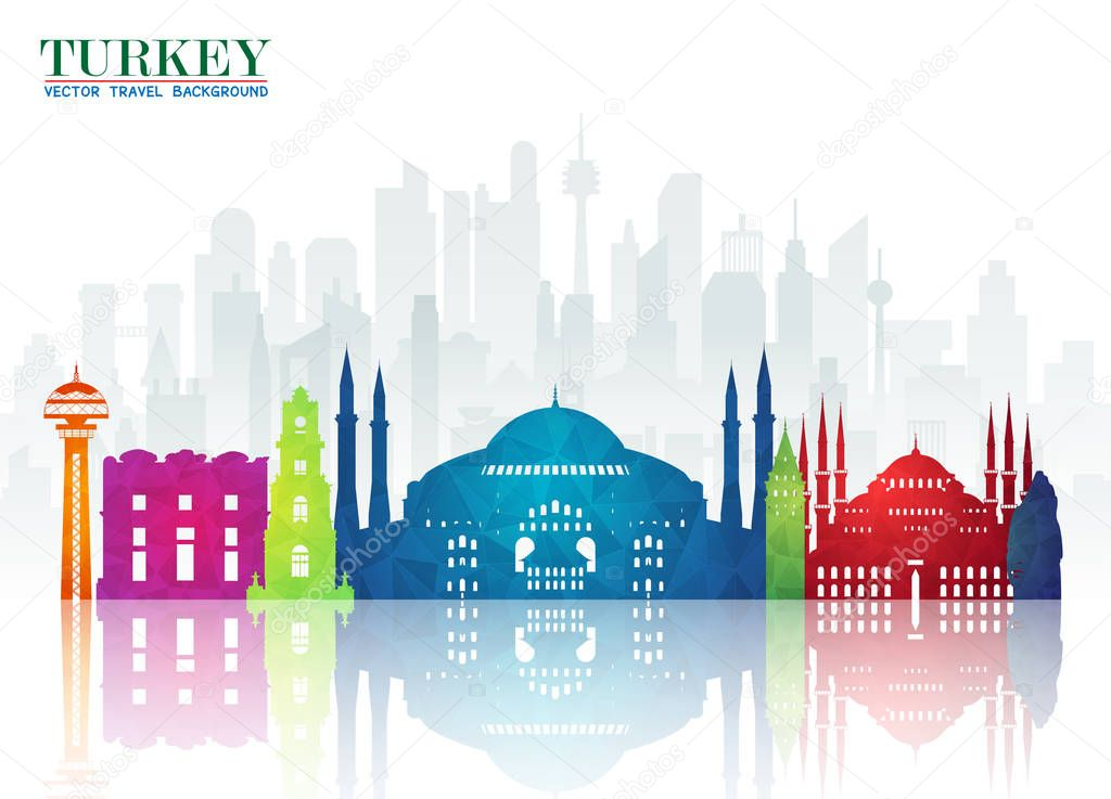 Turkey Landmark Global Travel And Journey Paper Background Vector Design Templateused For Your