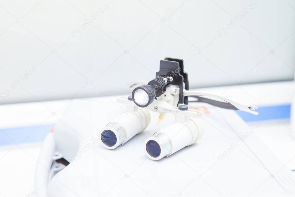 Glasses-microscope of the dentist, spectacles magnifying binocular