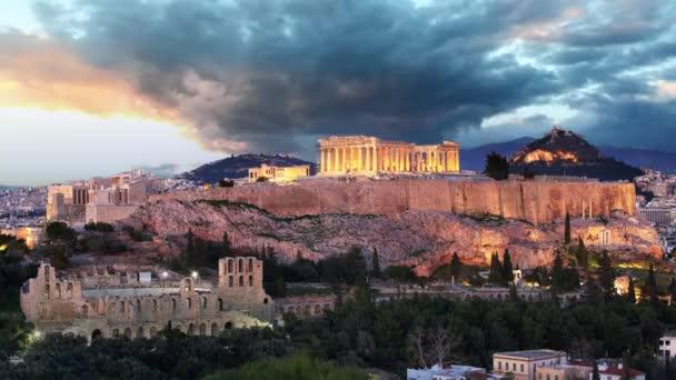 Athens Time lapse - Acropolis at sunset, Greece