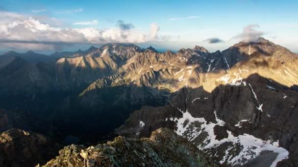 Slovensko-Tatras hora od vrcholu rysy, čas zanikne