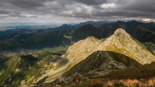 Doba zániku horského západu slunce na Slovensku hora-Rohace, Tatras Panorama