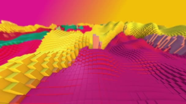 Absztrakt háttér fényes, színes, dinamikus mintázat. Fraktál grafikák kreatív grafikai tervezés. Mozgó hullámok többszínű kockákra. 3d