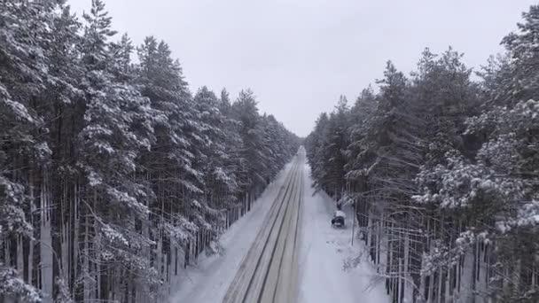 Kvadrokoptéra se pomalu letí přes silnici v lese, mezi borovicemi, blíží se větve stromů. Sníh, zima, velmi krásná, atmosférické