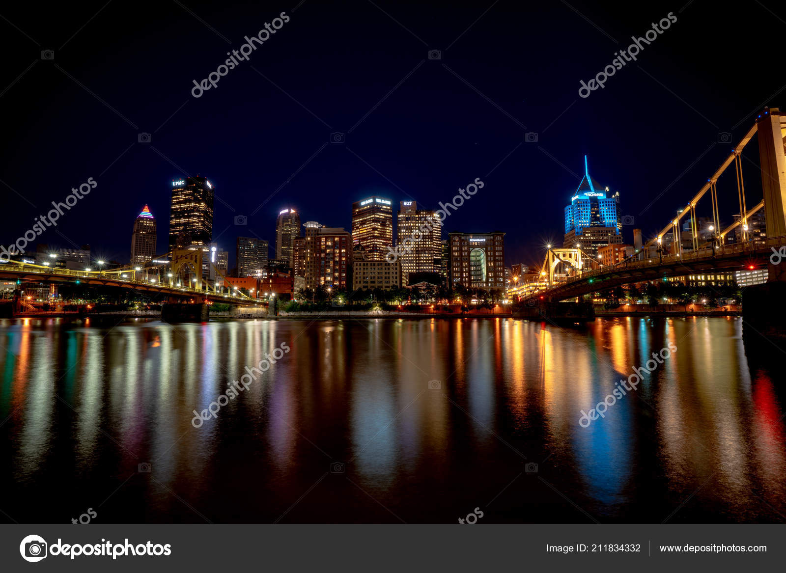 Pittsburgh Skyline Reflecting River Night Time Long Exposure