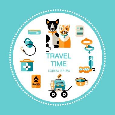 "Картина, постер, плакат, фотообои ""путешествия с собакой и кошкой, красочный баннер"", артикул 276275896"