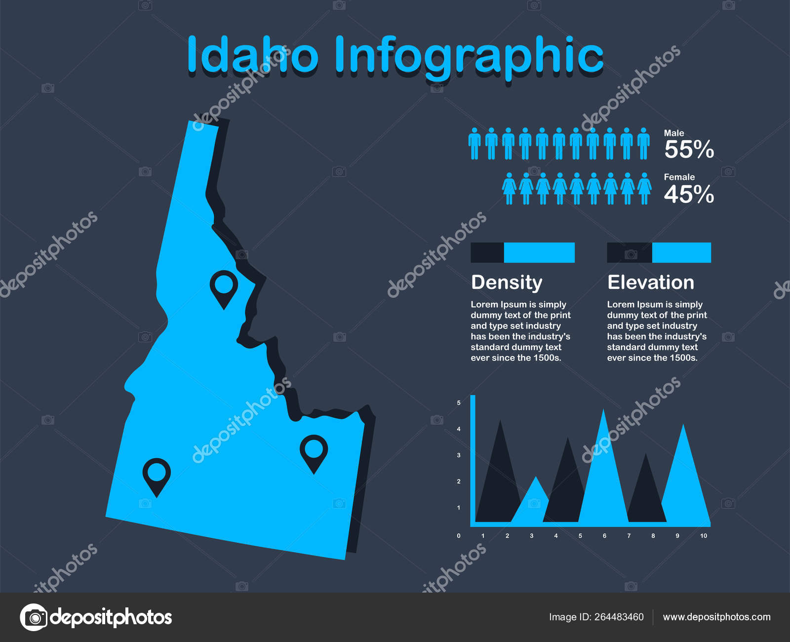 Idaho State (USA) Map with Set of Infographic Elements in Blue Color on mississippi map usa, wisconsin map usa, iowa map usa, oklahoma map usa, connecticut map usa, colorado map usa, new york on map of usa, tulsa map usa, oregon map usa, idaho downtown map usa, yale map usa, california map usa, houston map usa, virginia map usa, unlv map usa, cal poly map usa, ohio map usa, florida map usa, michigan map usa, minnesota map usa,