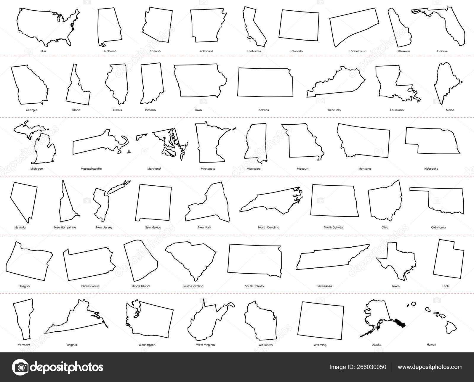 America map outline with states | Map of The United States ...