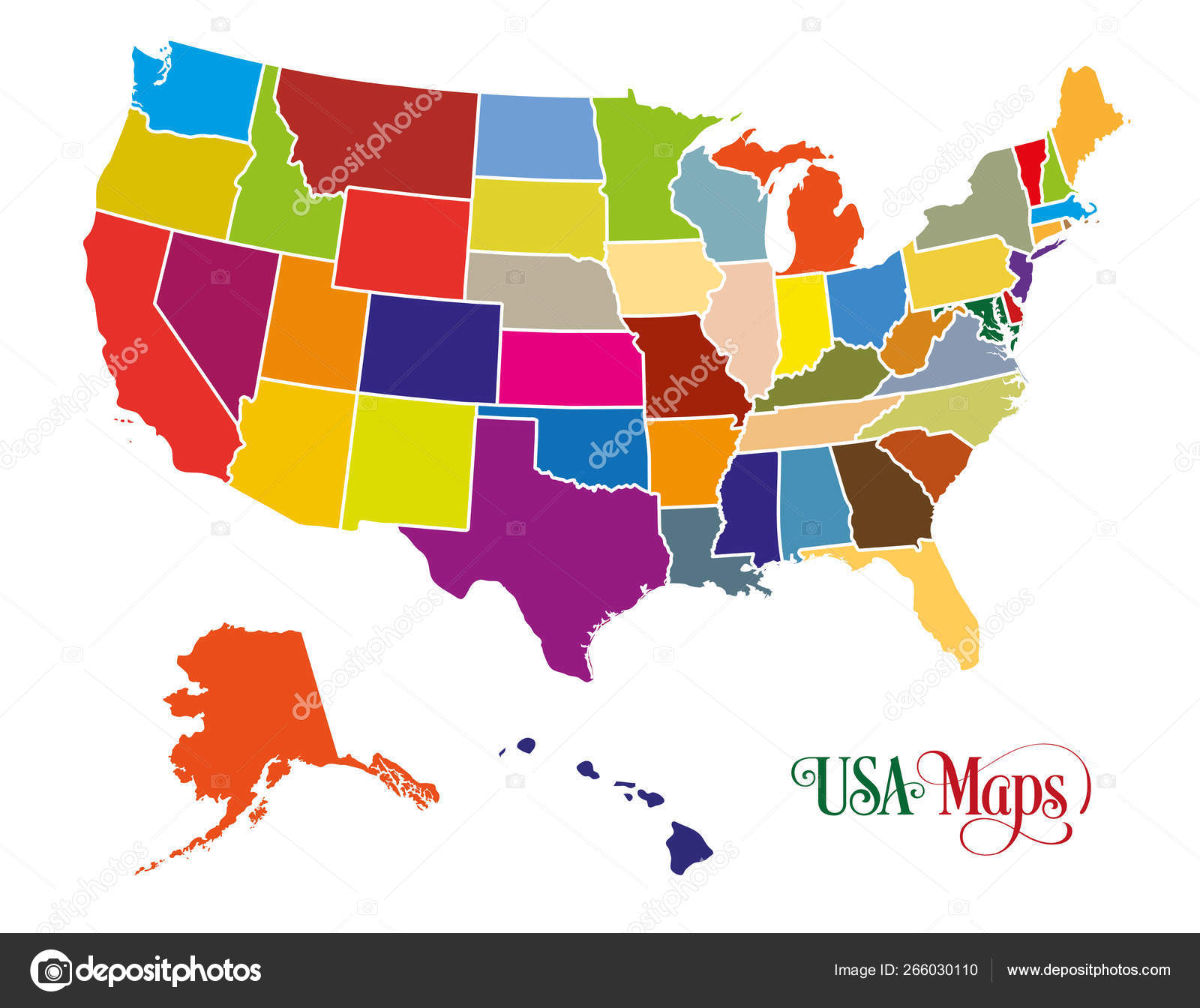 Picture of: Colorful Us Map Map Of The United States Of America Usa With Colorful States Illustration On White Background Stock Vector C Stock Ninja Studio 266030110