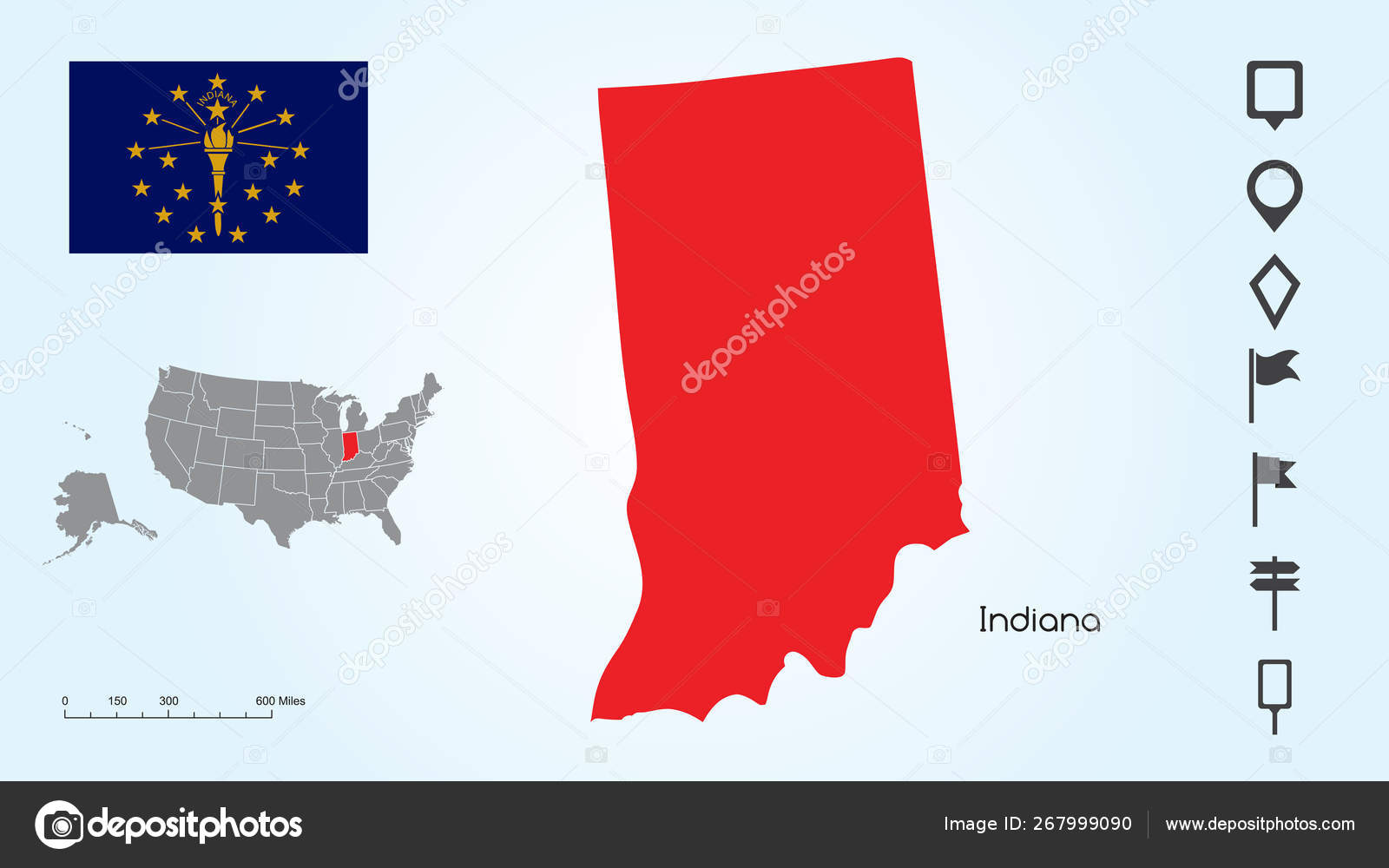 Map of The United States with the Selected State of Indiana ...