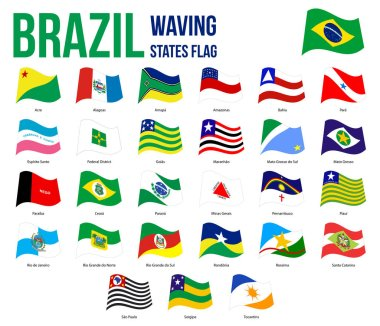 Brazil States Waving Flag Collection Vector Illustration in Official Colors And Proportion
