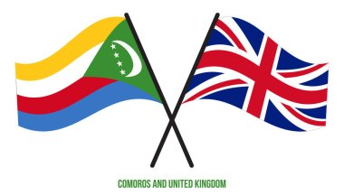 Comoros and United Kingdom Flags Crossed Flat Style. Official Proportion. Correct Colors.