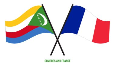 Comoros and France Flags Crossed And Waving Flat Style. Official Proportion. Correct Colors.