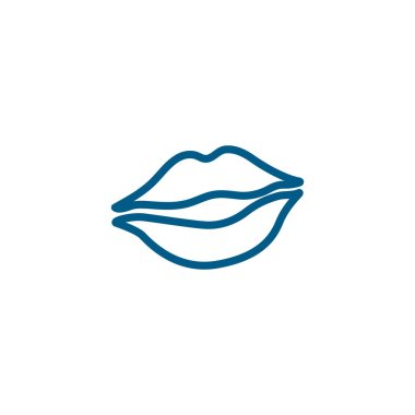Woman Lips Line Blue Icon On White Background. Blue Flat Style Vector Illustration icon