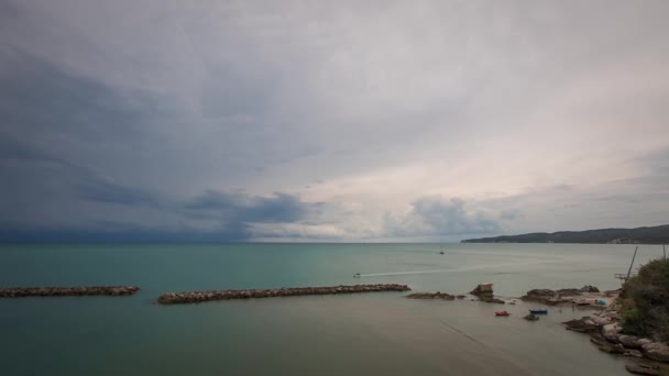 Timelapse of the amazing Adriatic Sea and historic town of Vieste, Province of Foggia, Italy