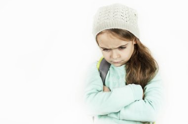 little beautiful girl emotionally angry, offended, on white isolated background