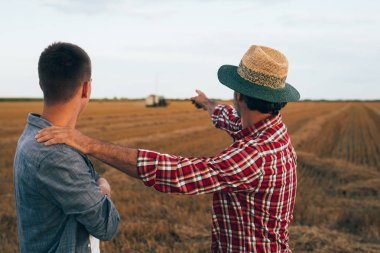 Mature farmer with young colleague on wheat field talking