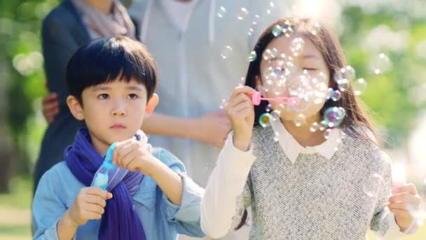asiatico bambina e ragazzo fratello e sorella soffiando bolle nel parco con i genitori a guardare da dietro