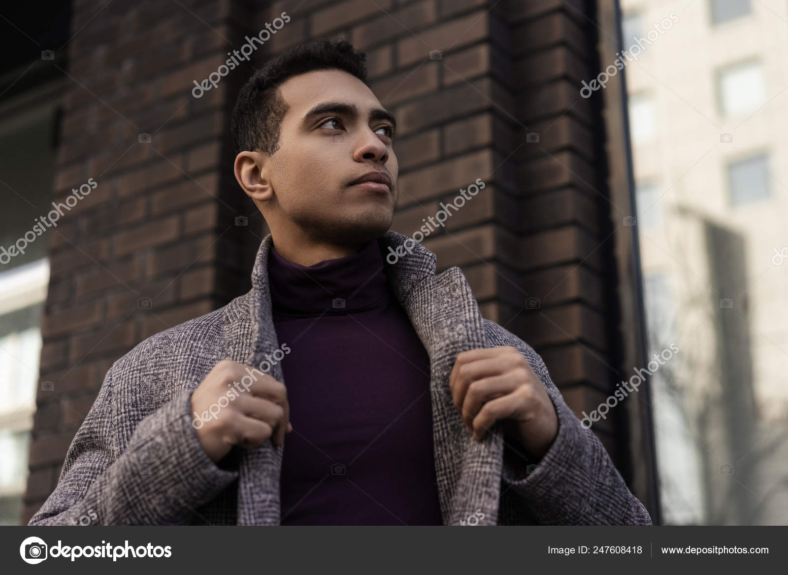 Successful Fashion Model Wearing Stylish Grey Coat Purple