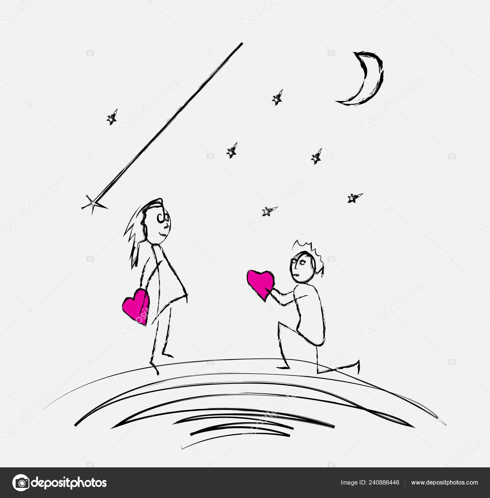 Guy confesses girl love pencil drawing stock vector