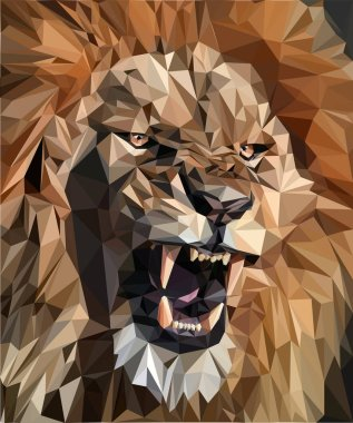 growling lion made of polygons