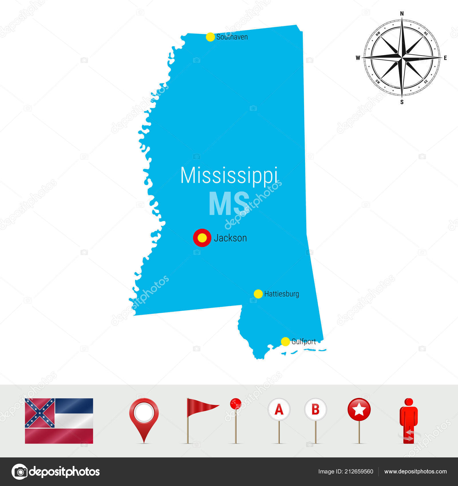 Mississippi Vector Map Isolated White Background Detailed Silhouette