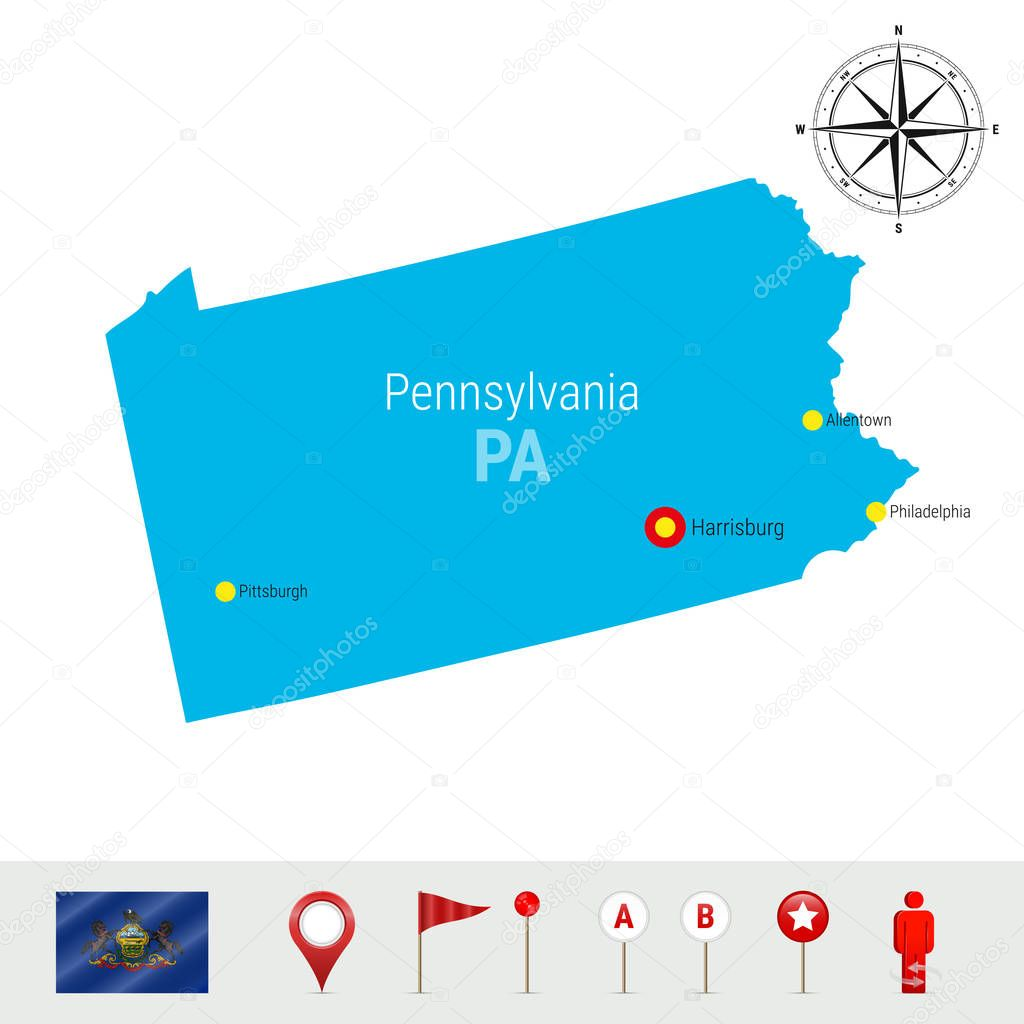 Picture of: Pennsylvania Vector Map Isolated On White High Detailed Silhouette Of Pennsylvania State Vector Flag Of Pennsylvania 3d Map Markers Or Pointers Navigation Elements Rose Of Wind Or Compass Icon Premium Vector