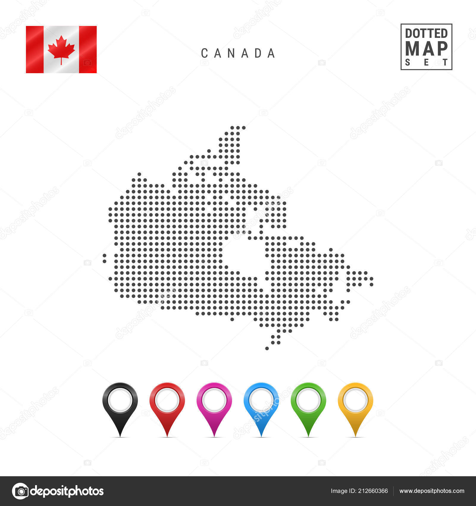 Simple Map Of Canada.Dotted Map Canada Simple Silhouette Canada National Flag Canada Set