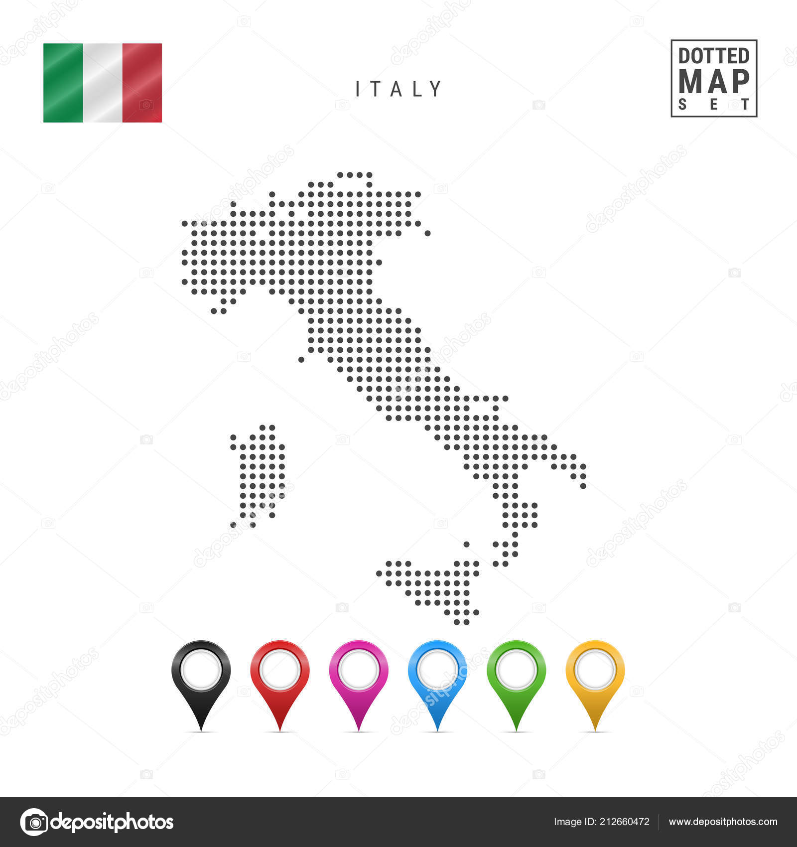 Simple Map Of Italy.Dotted Map Italy Simple Silhouette Italy National Flag Italy Set