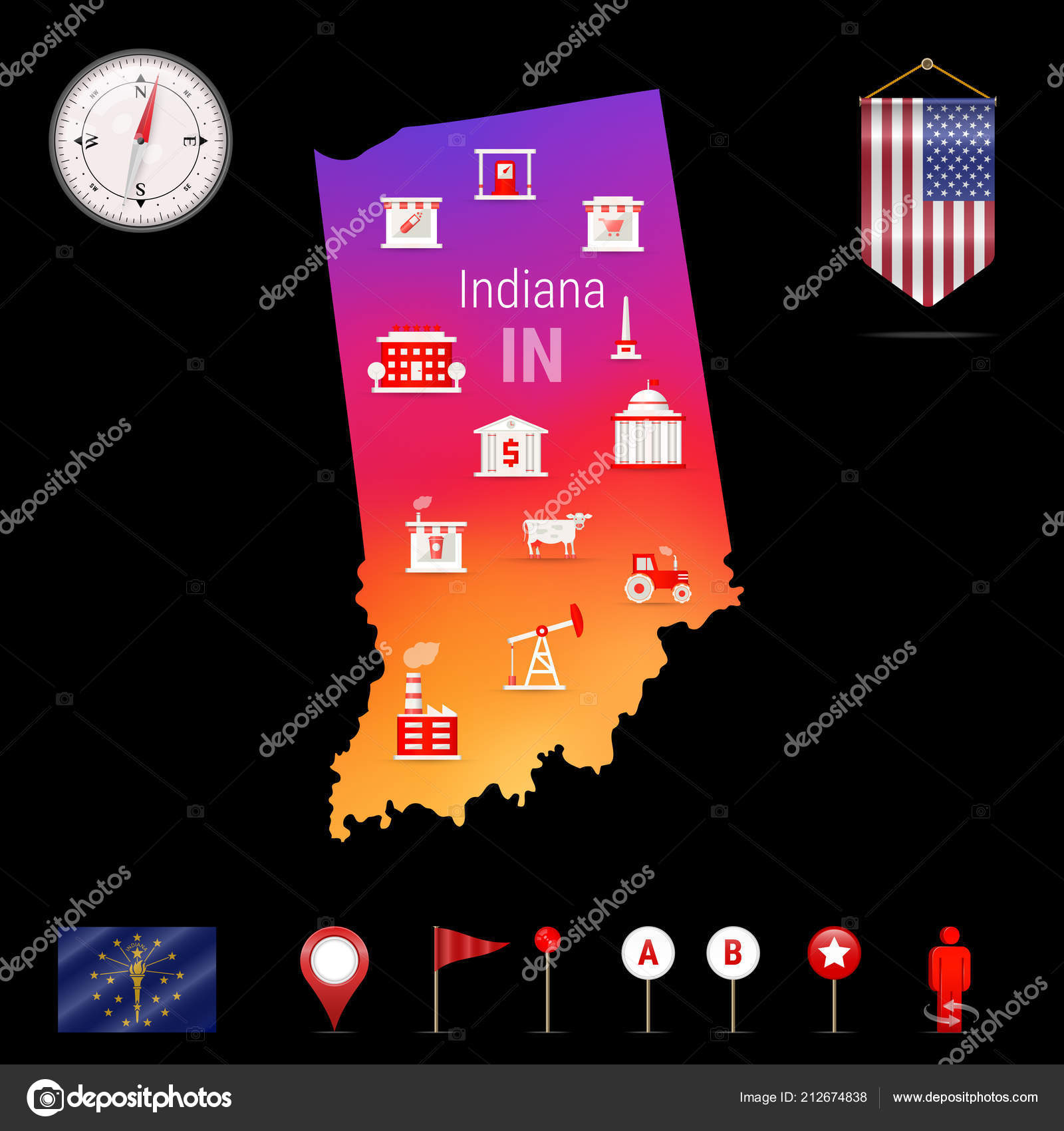 Indiana Vector Map Night View Compass Icon Map Navigation Elements