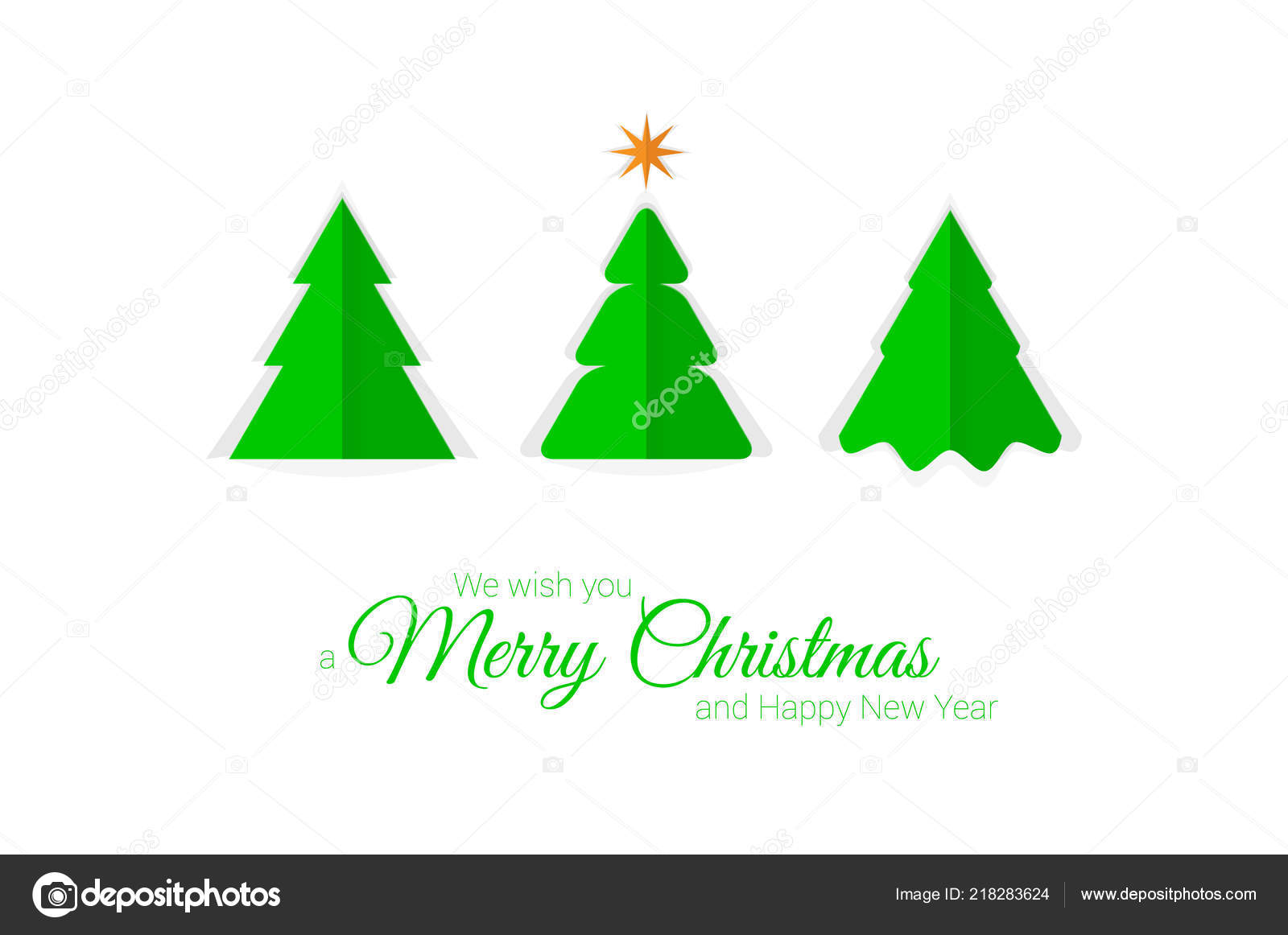 Paper Cut Christmas Trees Vector Christmas Greeting Card Template