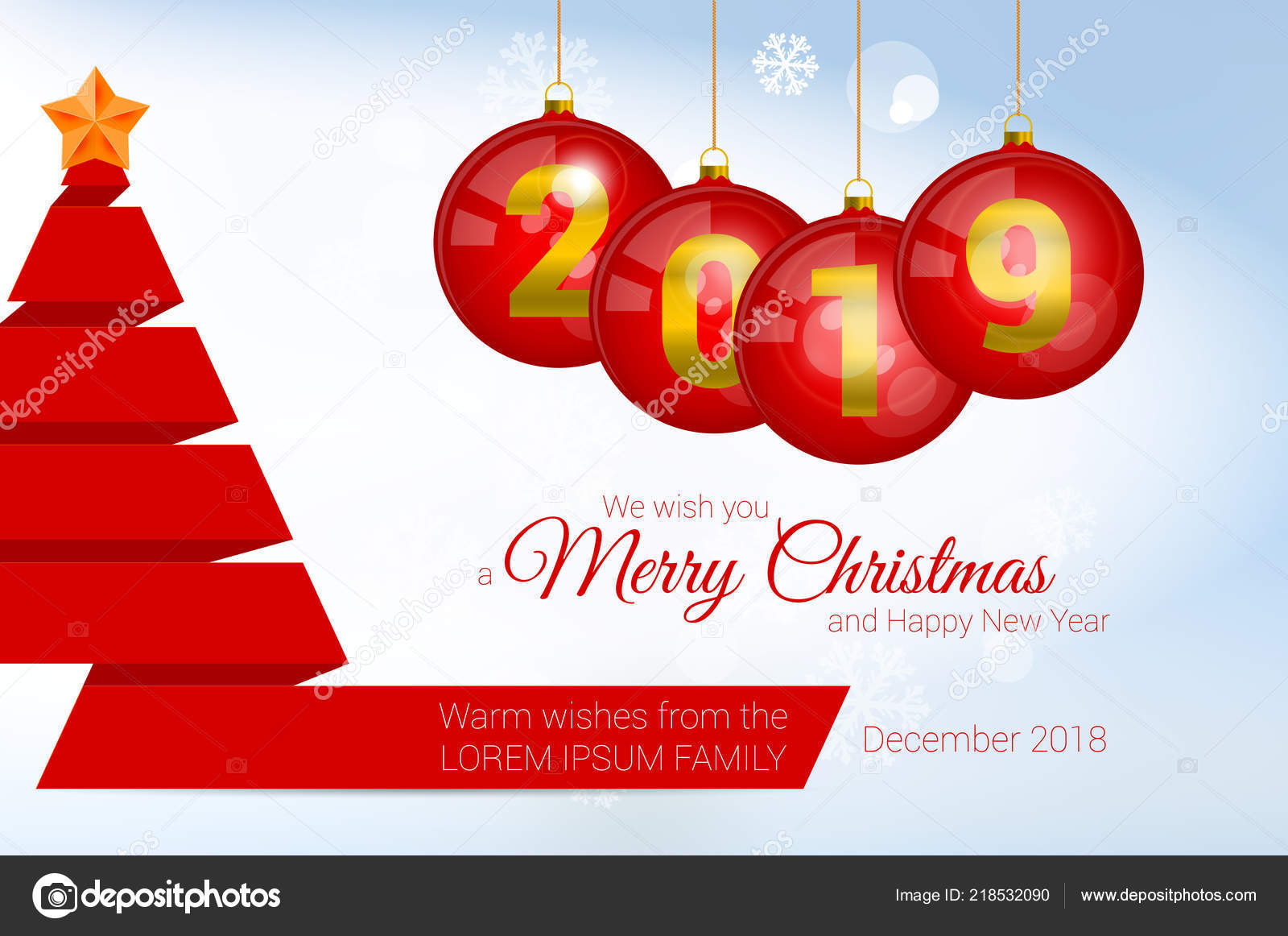 2019 vector christmas greeting card template merry christmas and
