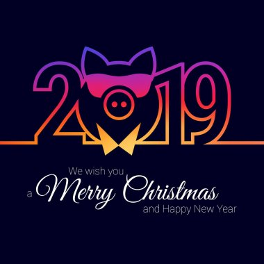 Pig Year 2019 Stylish Emblem. Vector Christmas Greeting Card Template. Merry Christmas, Happy New Year Design Elements