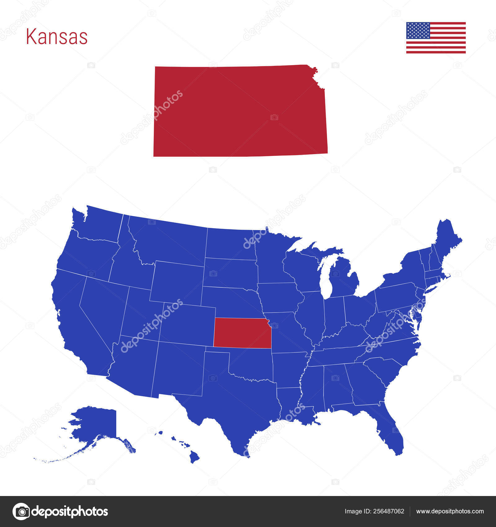 The State of Kansas is Highlighted in Red. Vector Map of the United on su kansas on map, kansas on america map, kansas on usa map, kansas is a part of the united states, state in washington dc on us map, state of kansas on us map, kansas state of the united states, kansas on world map, topeka on a us map, ks on a us map,